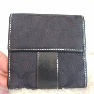 100% Coach Authentic Signature C Black Wallet